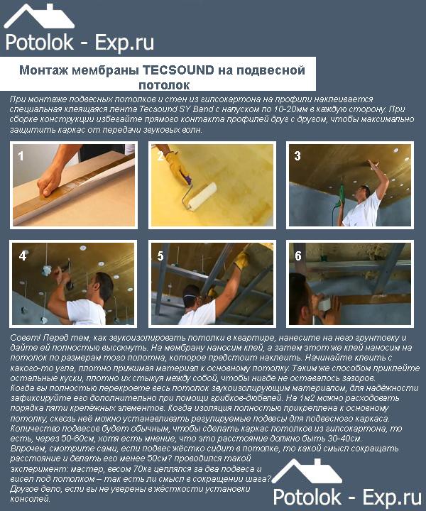 Монтаж мембраны Tecsound на подвесной потолок