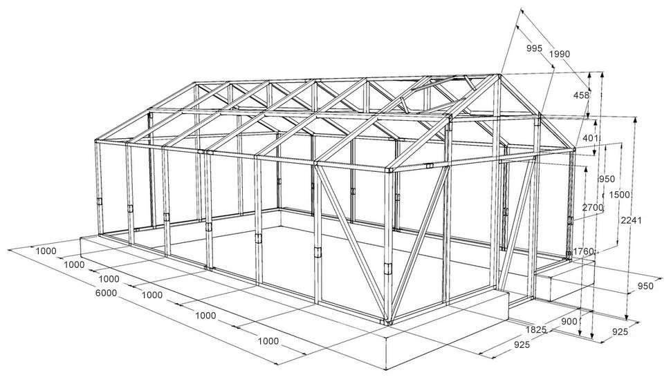 Чертеж для строительства поликарбонатной теплицы с двускатной крышей