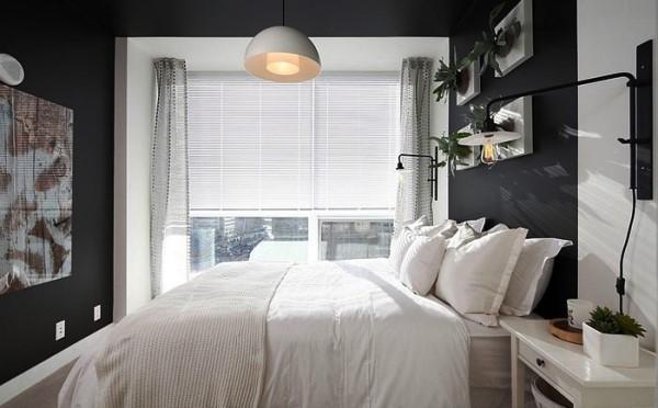 дизайн спальни с обоями двух цветов фото 4
