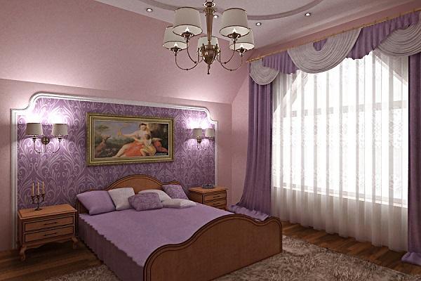 как наклеить обои двух цветов фото в спальне