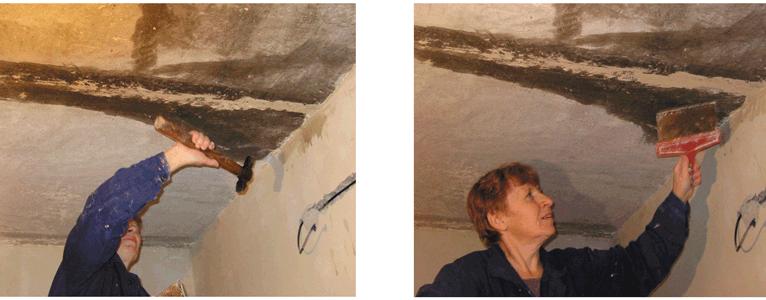 Простучать швы между панелями перекрытия и, при необходимости, убрать раствор