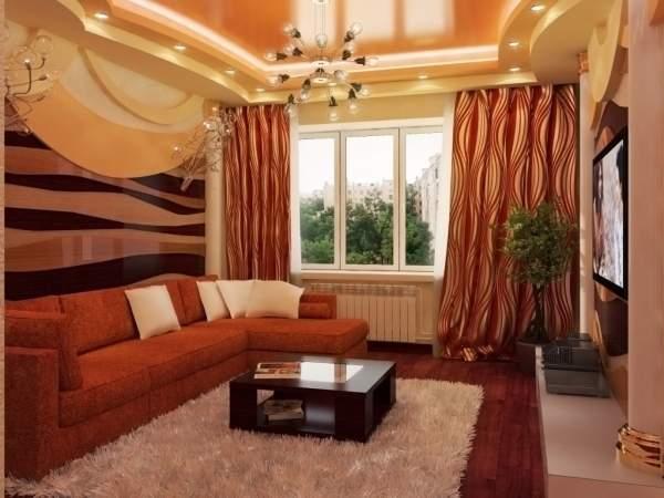 Дизайн зала в квартире - красивая гостиная спальня на фото