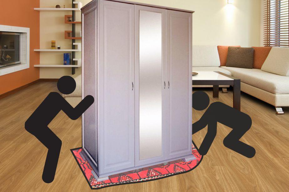 Как легко передвинуть тяжелый шкаф без ножек и не поцарапать пол