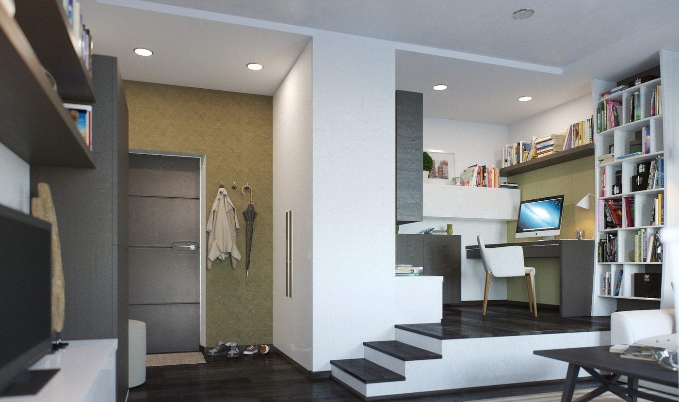 Рабочая зона на подиуме в маленькой квартире