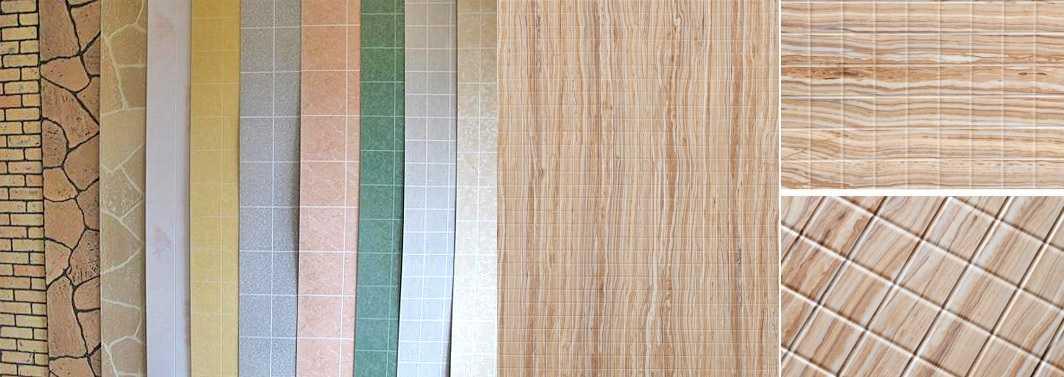Несколько образцов ламинированных ПВХ панелей для отделки стен