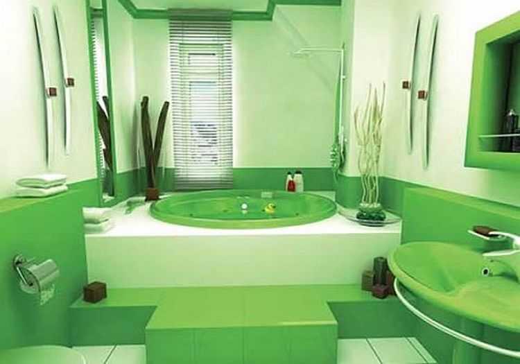 Жизнерадостный зеленый двух оттенков в ванной комнате