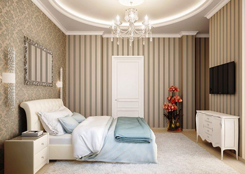 Комбинирование обоев в классической спальне