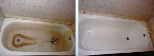 После реставрации акрилом ванны