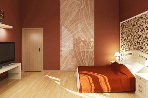 дизайн спальни с обоями двух цветов фото 11