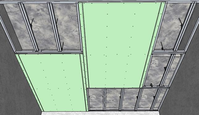 Листы крепят со сдвигом примерно в 1 200 мм, прибавив ещё по 2 мм на монтажные зазоры
