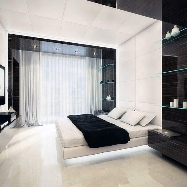 Дизайн зала в квартире в стиле хай тек в черно-белых тонах