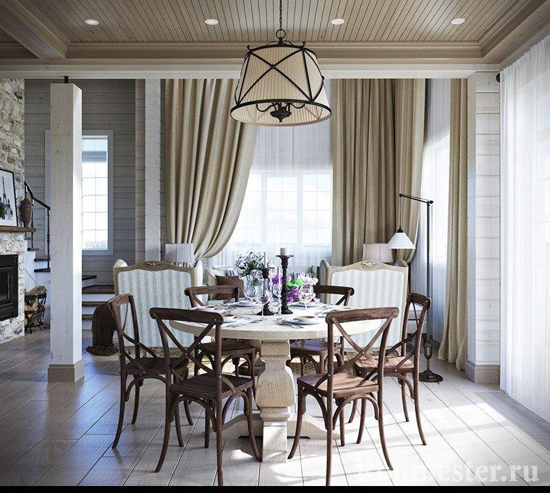 Столовая зона в гостиной комнате