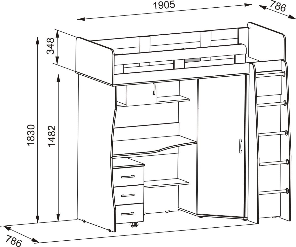 Схема двухъярусной кровати с рабочей зоной