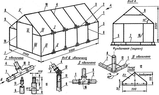 Чертеж теплицы из профильной трубы с двускатной крышей