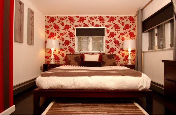 дизайн спальни с обоями двух цветов фото 9