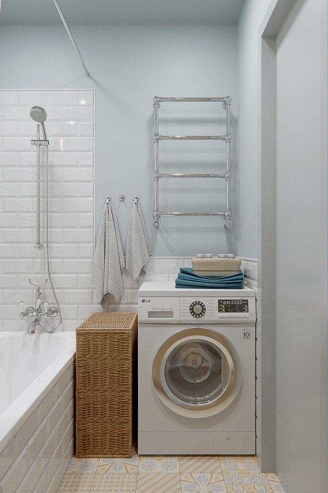 Расположение стиральной машинки в маленькой ванной комнате