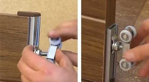 монтаж роликов для раздвижных дверей