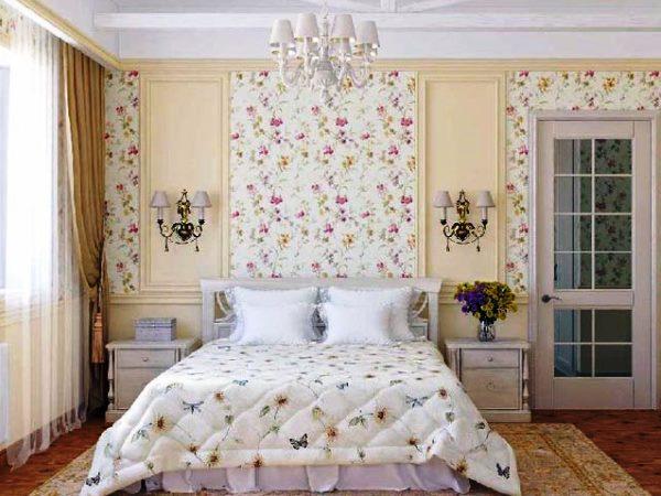 дизайн спальни с обоями двух цветов фото 32