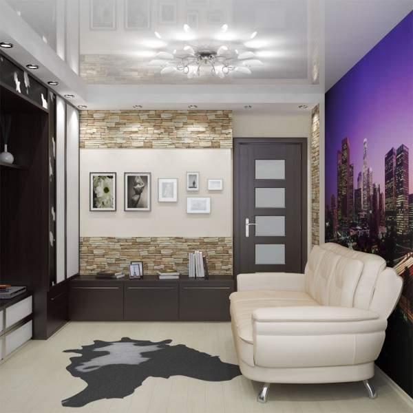 Дизайн зала в квартире с фотообоями на стене