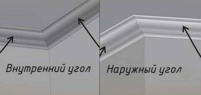 как наклеить потолочный плинтус в углах