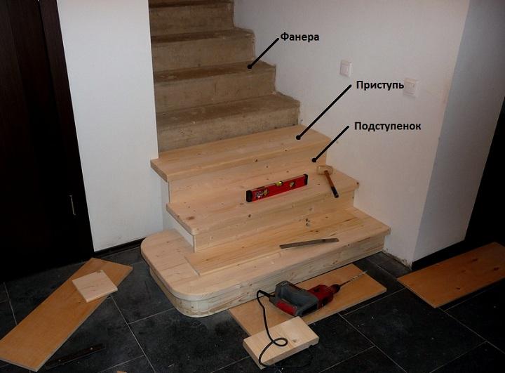 Основные элементы, из дерева разной ценовой категории, для обшивки бетонной лестницы можно приобрести у нас