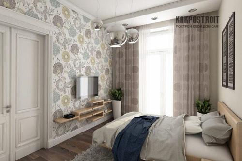 комбинирование обоев в спальне в маленькой спальне