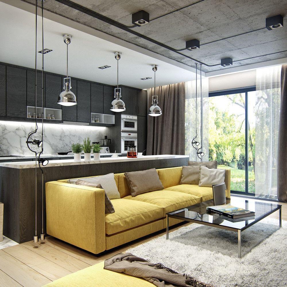 Фото 20 Бетонный потолок в интерьере: 60+ лаконичных идей для дизайна в стиле лофт, минимализм и хай-тек
