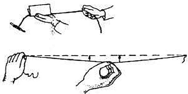 Отбивка линии на потолке окрашенным шнуром