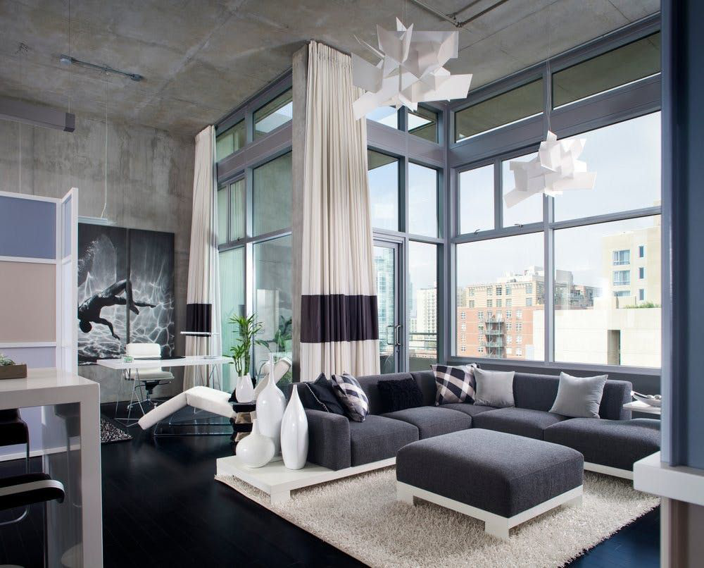 Фото 9 Бетонный потолок в интерьере: 60+ лаконичных идей для дизайна в стиле лофт, минимализм и хай-тек