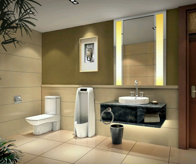 elegant-modern-small-bathroom-design-ideas-white-ceramic-toilet-black-laminated-wooden-wall-mounted-bathroom-vanity-wall-mirror-with-gray-stained-wall-cream-ceramic-floor-luxury-small-bathroom-design