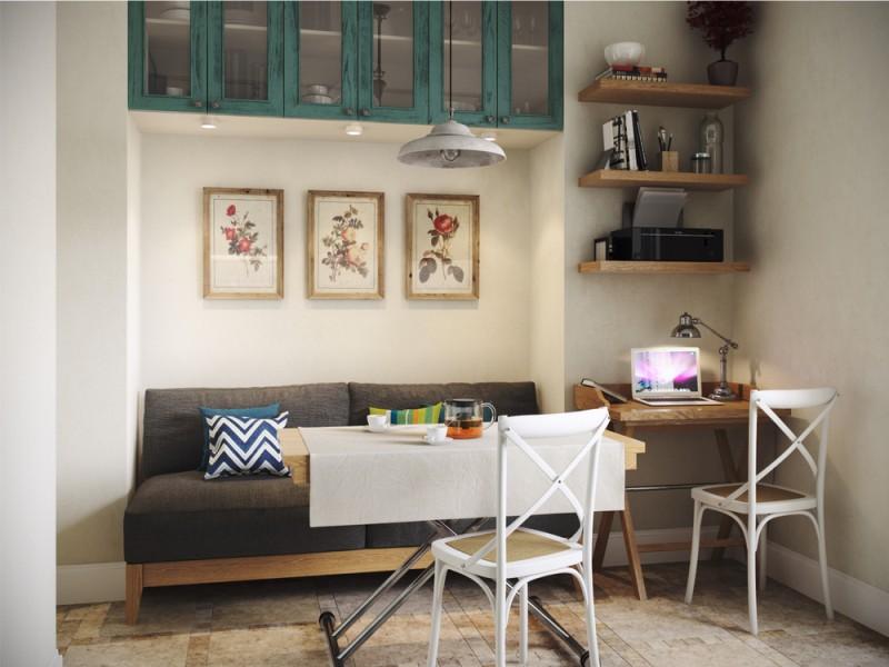 Интерьер кухни-студии со столом–трансформером