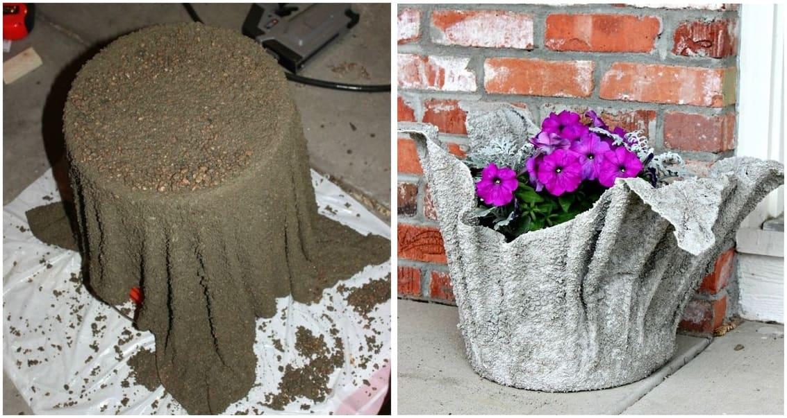 Чудесный горшок для цветов из старой тряпки и цементного раствора