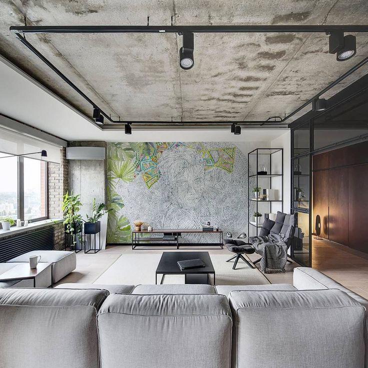 Фото 27 Бетонный потолок в интерьере: 60+ лаконичных идей для дизайна в стиле лофт, минимализм и хай-тек