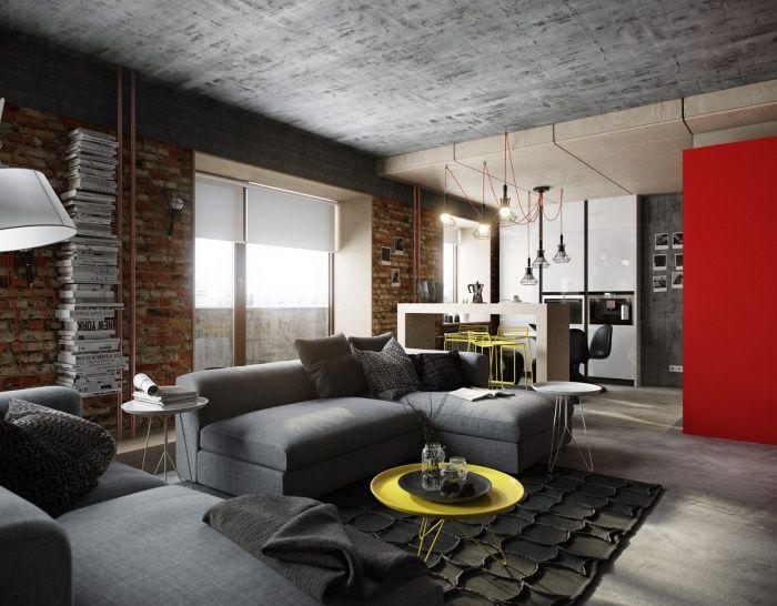 Фото 22 Бетонный потолок в интерьере: 60+ лаконичных идей для дизайна в стиле лофт, минимализм и хай-тек