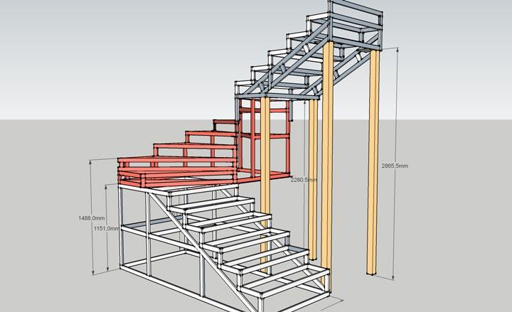 Расчет параметров лестницы из металла вс пециальной 3D программе