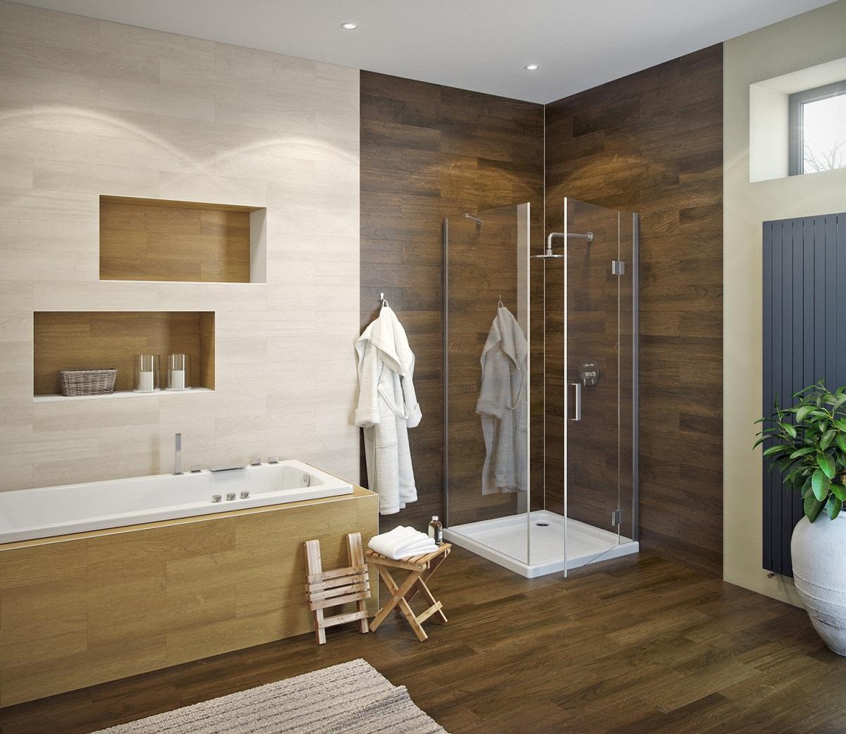 Для отделки ванной можно использовать несколько видов кафеля, имитирующего разные породы деревьев