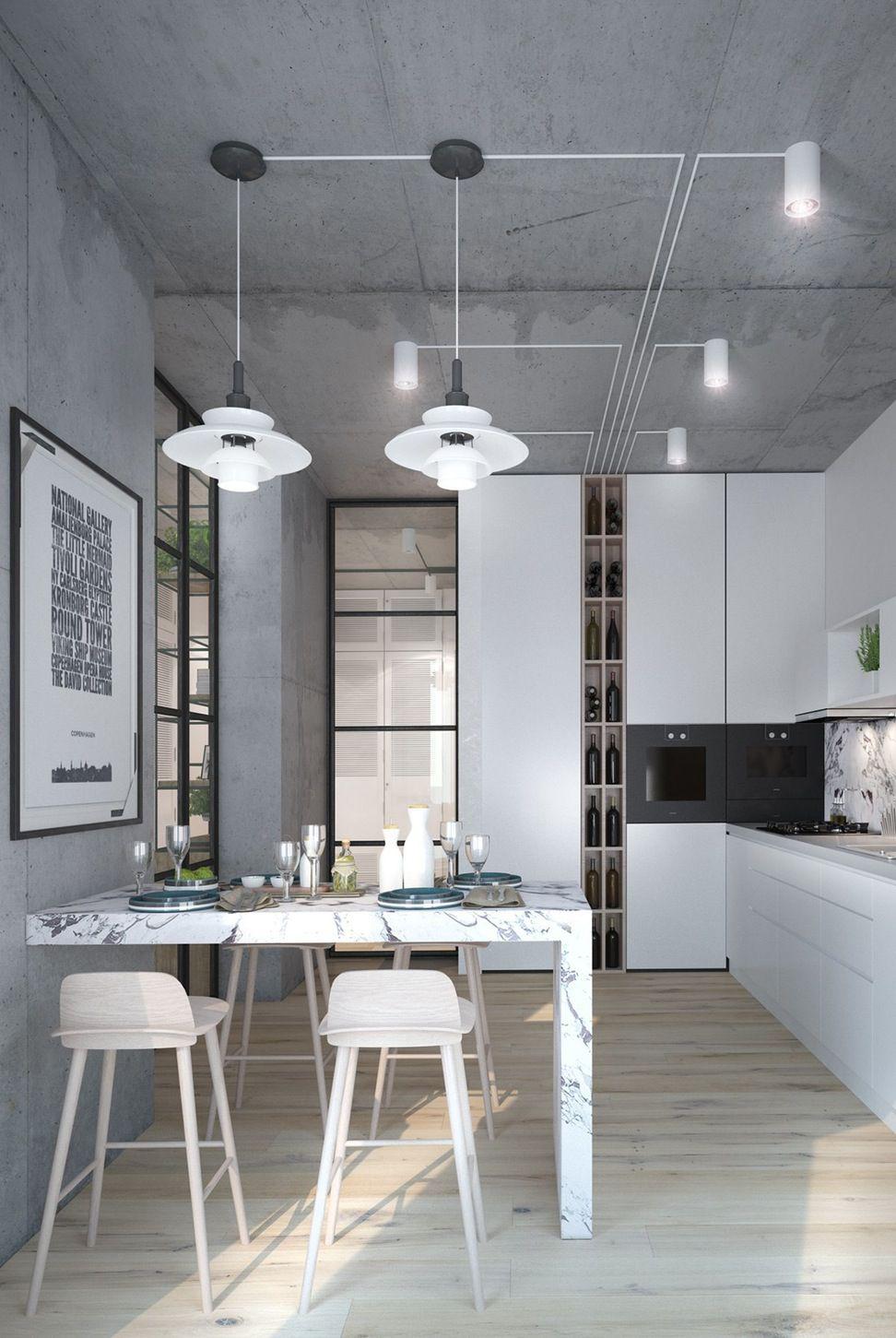 Фото 26 Бетонный потолок в интерьере: 60+ лаконичных идей для дизайна в стиле лофт, минимализм и хай-тек