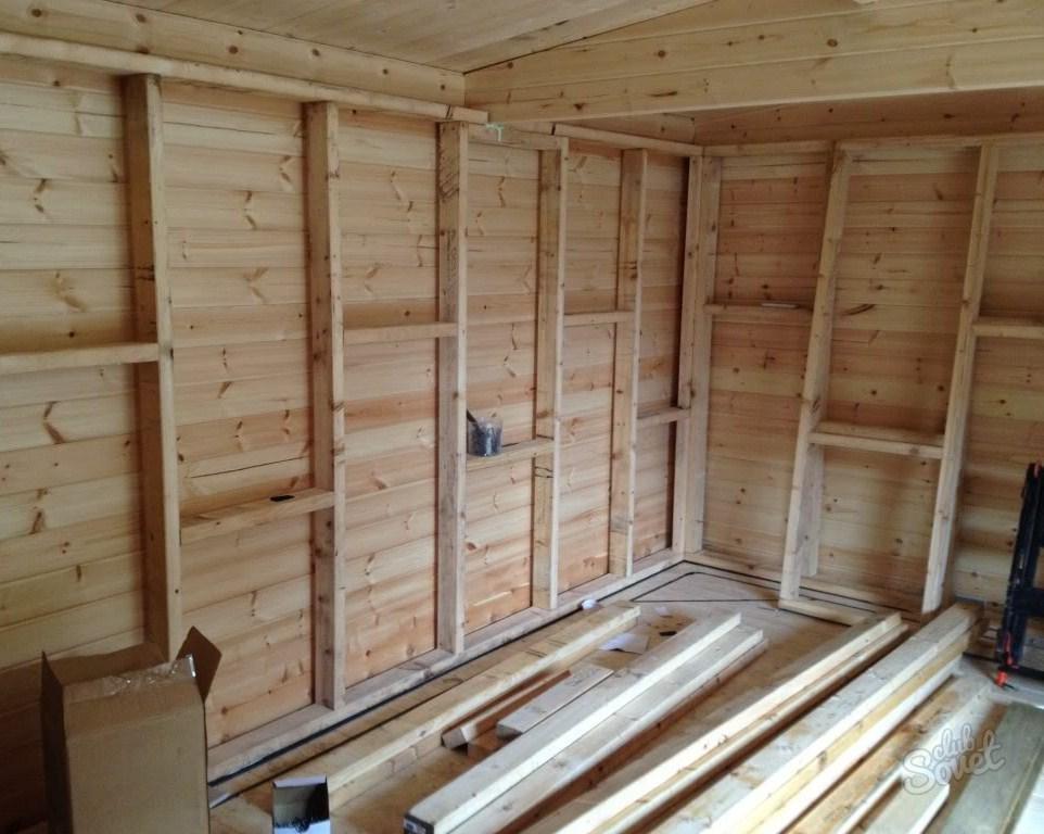 Монтаж деревянной обрешетки на стену