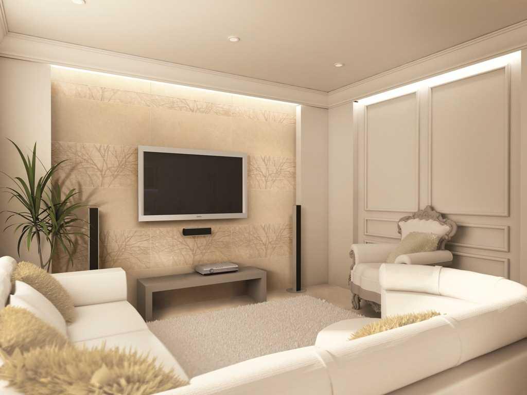 Отделка стен и лепной декор гостиной