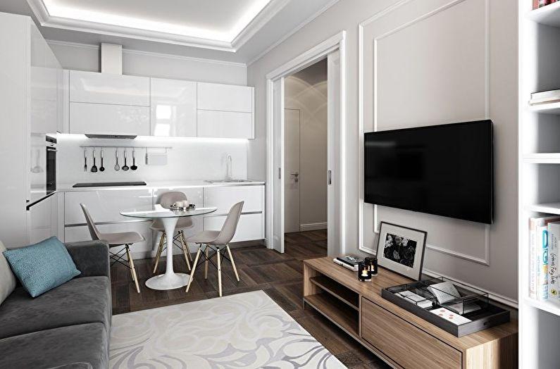 Совмещение маленькой гостиной и кухни - дизайн интерьера