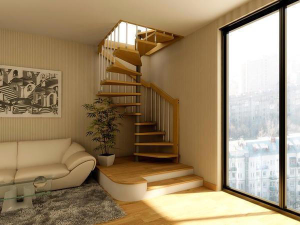 Компактная лестница на мансарду в пятиэтажном доме