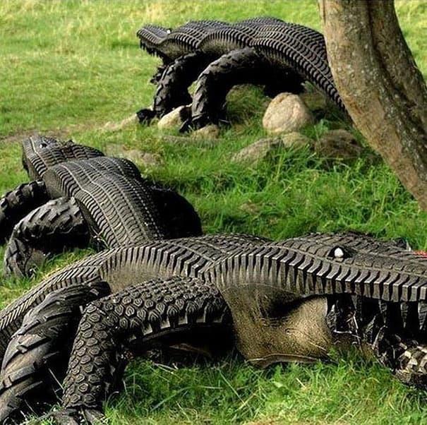 Крокодилы из автомобильных шин