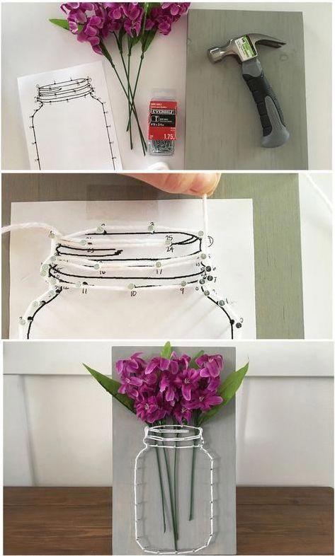 как сделать Панно из гвоздей и ниток