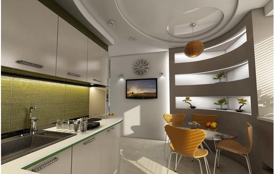 Ниши из гипсокартона в дизайне кухни