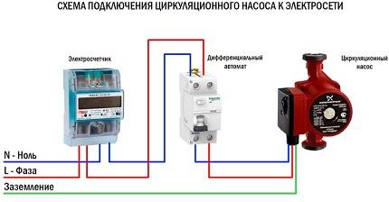 Схема подключения насоса к электросети