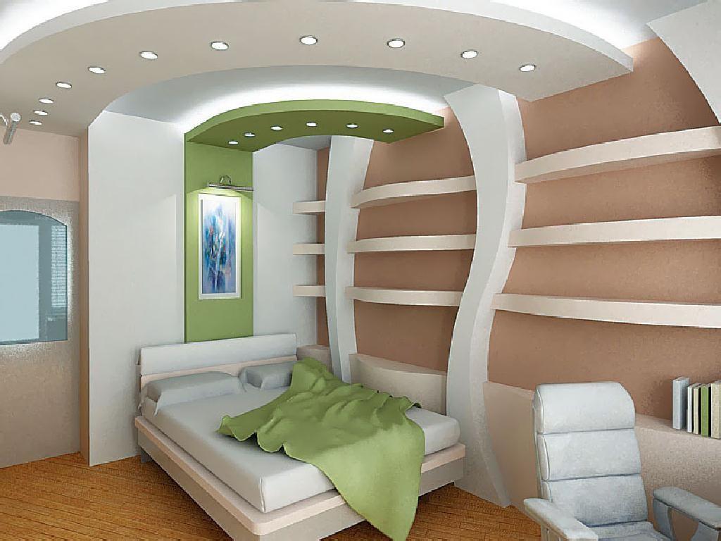 Гипсокартон на стене в спальне