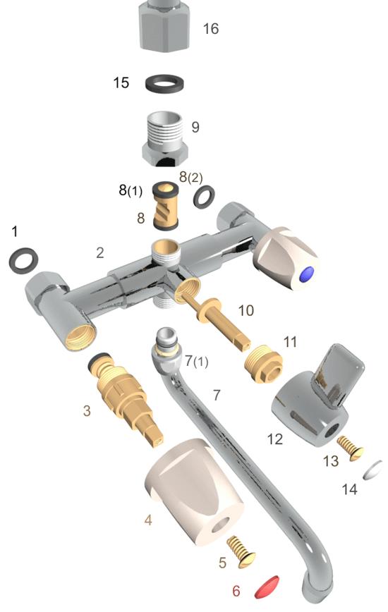Устройство настенного вентильного смесителя
