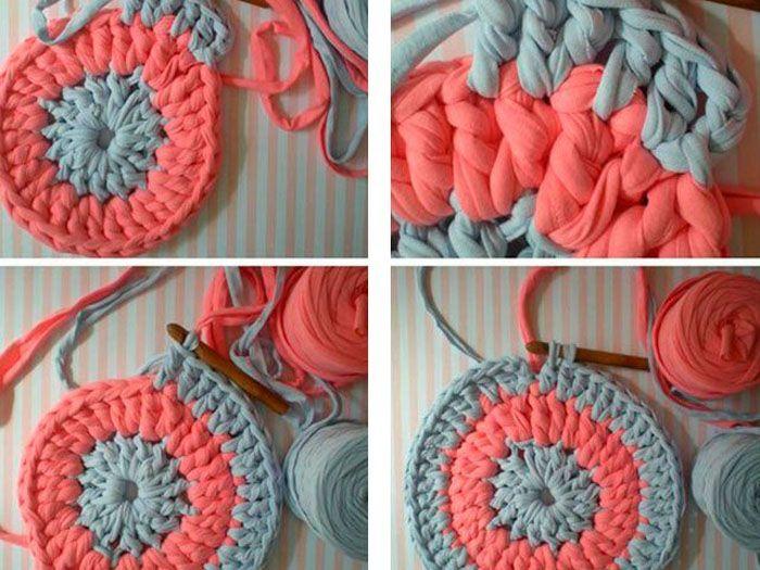 Ещё один красочный вариант коврика своими руками из старых вещей, связанного крючком