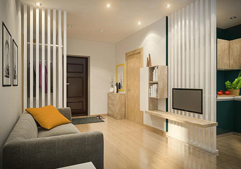 Совмещение маленькой гостиной с прихожей или коридором - дизайн интерьера