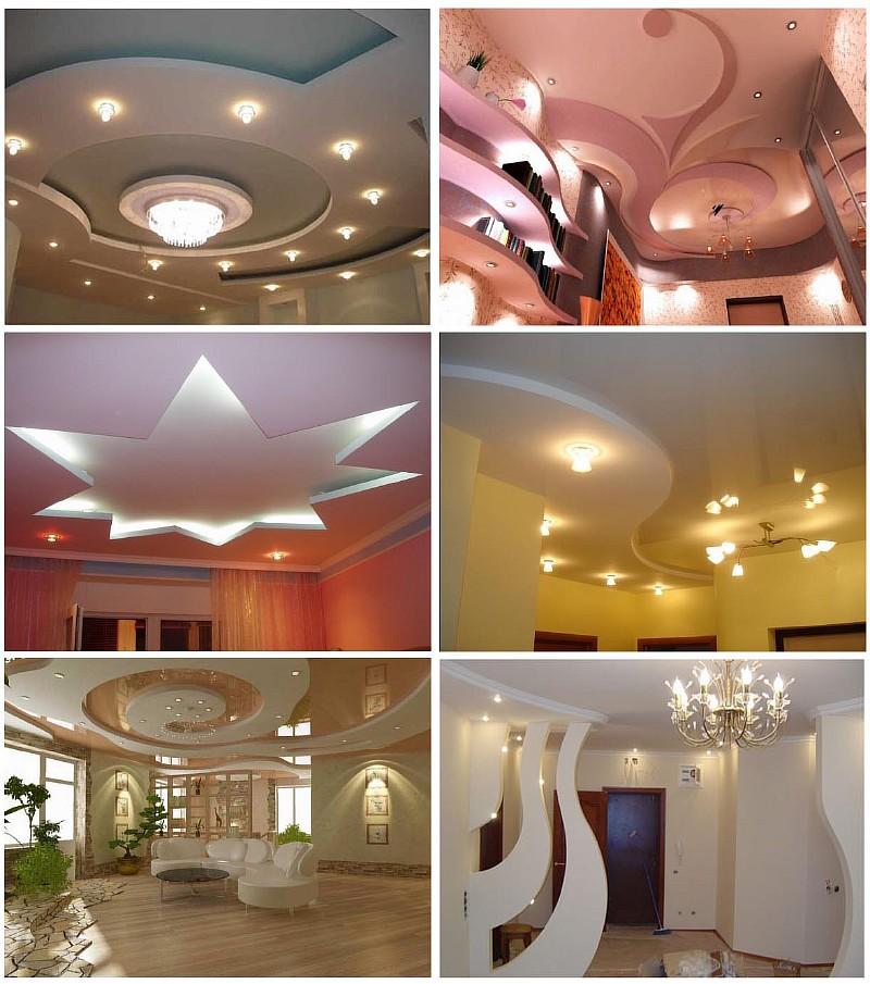 Примеры применения гипсокартонных листов для отделки стен и потолков